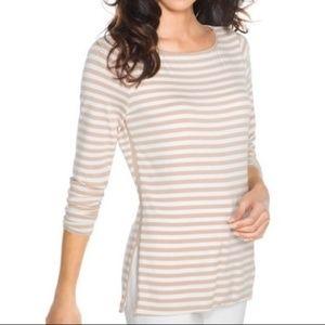 WHBM Long Sleeve Striped Top